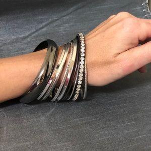 🔸SALE🔸Bebe Bangle Bracelet Set of 9 Silver